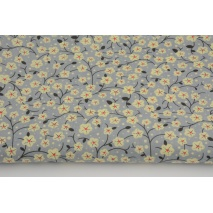 Cotton 100% batiste, yellow flowers on a gray backround