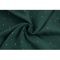 Double gauze 100% cotton golden marks on a bottle green background