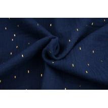 Double gauze 100% cotton golden marks on a navy blue background