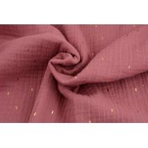 Double gauze 100% cotton golden marks on a dark pink background