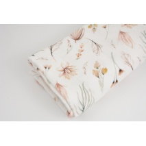 Double gauze 100% cotton twigs and flowers in shades of beige No.2  DP