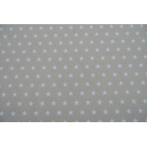 Cotton 100% white stars 20mm on a light beige background II quality