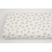 Ribbed 100% cotton little roses on white background