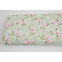 Bawełna prążkowana różowe kwiatki na miętowym tle
