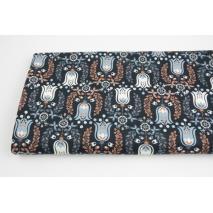 Cotton 100% flower bells on a navy blue  background, sateen