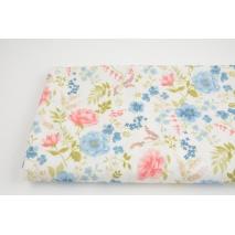 Bawełna 100%, kwiaty niebieskie, koralowe na białym tle GOTS