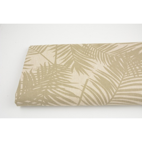 Decorative fabric, olive palm leaves on a linen background187g/m2