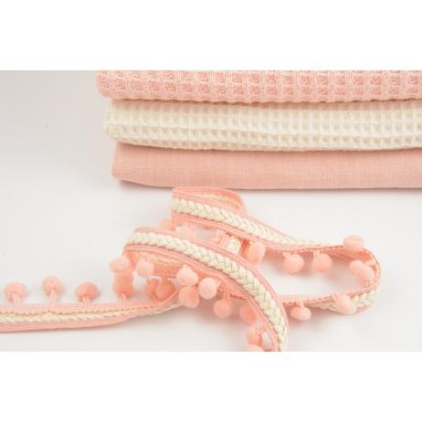 Pom pom ribbon with braid, salmon