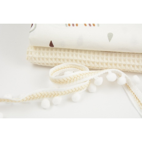 Pom pom ribbon with braid, white