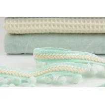 Pom pom ribbon with braid, mint