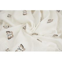 100% cotton, double gauze embroidered butterflies, cream