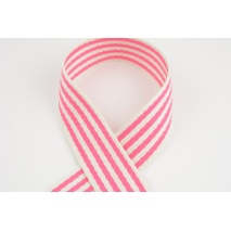 Natural tape with bright pink stripes, 40mm