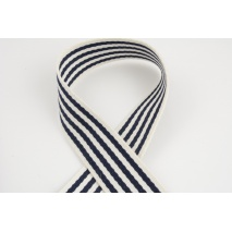 Natural tape with navy stripes, 40mm