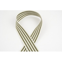 Natural tape with khaki stripes, 40mm