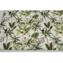 Premium 100% cotton sloths in the jungle on white DP