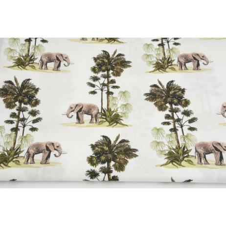 Premium 100% cotton elephants, palm trees on white DP