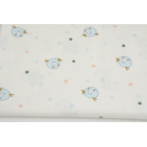 Cotton 100% blue sheep, stars on white