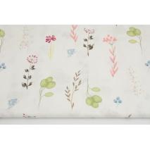 Bawełna 100%, kolorowe kwiatki, gałązki na białym tle