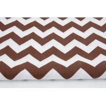 Bawełna 100% chevron zygzak zyg-zak czekoladowy brąz