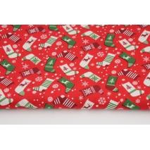 Cotton 100% Christmas socks on a red background, poplin