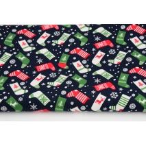 Cotton 100% Christmas socks on a navy background, poplin