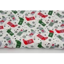Cotton 100% Christmas socks on a cream background, poplin