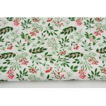 Cotton 100% Christmas twigs on a cream background, poplin