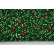 Cotton 100% Christmas twigs on a green background, poplin