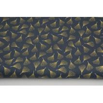 Cotton 100% golden fans on a graphite background, poplin