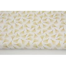 Cotton 100% golden fans on a cream background, poplin
