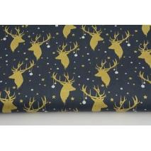 Cotton 100% golden deer heads on a graphite background, poplin