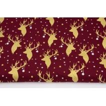 Cotton 100% golden deer heads on a burgundy background, poplin