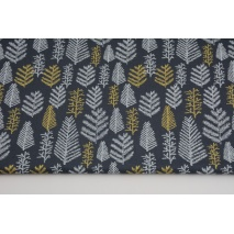 Cotton 100% white and golden Christmas trees a graphite background, poplin