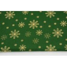 Bawełna 100% złote śnieżynki na zielonym tle, popelina