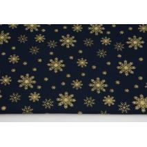 Cotton 100% golden snowflakes a navy background, poplin