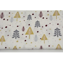 Cotton 100% gray and golden Christmas trees, burgundy dots a cream background, poplin
