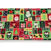 Bawełna 100% świąteczne znaczki, popelina