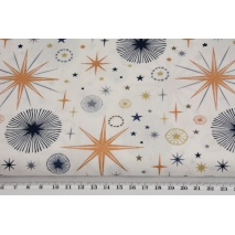 Cotton 100%, copper stars, navy blue rosettes on a creamy background, poplin