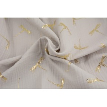 Double gauze 100% cotton golden dragonfly on a pigeon background