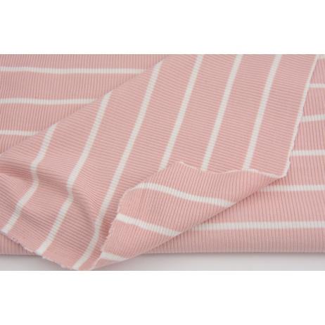 Rib knit fabric, dusty pink stripes 4mm/22mm