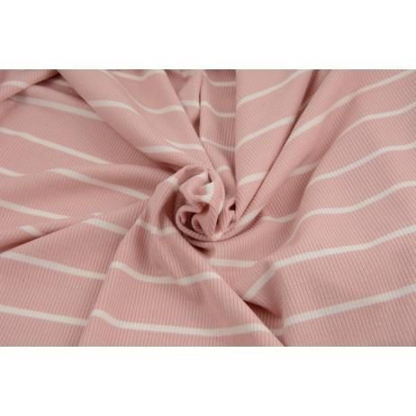 Rib knit fabric, dusty pink stripes 4mm/28mm