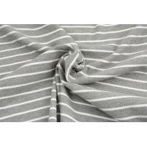 Rib knit fabric, gray melange 3mm/12mm