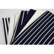 Rib knit fabric, navy stripes 3mm/12mm