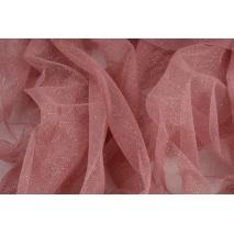 Tiul błyszczący z brokatem szminkowy róż