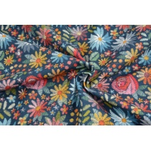 Single jersey, printed embriodery flowers on a navy background, DP