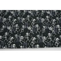 Bawełna 100%, Halloween tańczące szkielety GOTS