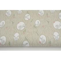 Cotton 100%, bunnies on a beige background GOTS