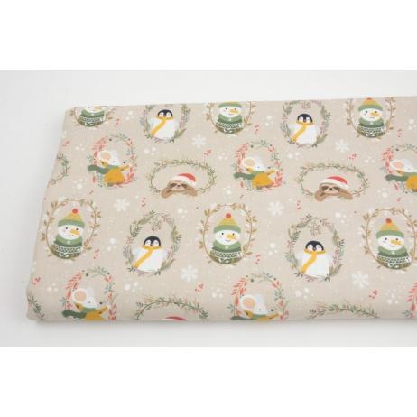 Cotton 100%, snowmen, penguins on a beige background GOTS