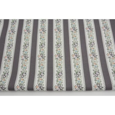 Cotton 100%, flowers in a dark heather stripes GOTS