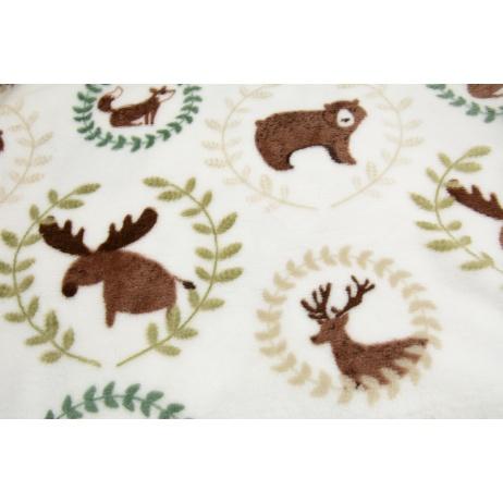 Printed flannel fleece, deer, bears on a white background